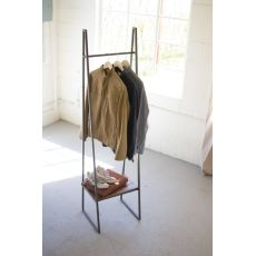 A - Frame Metal Rack With Lower Wood Shelf
