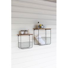 Wire Basket Shelves Wthi Recycled Wood Tops, Set of 2