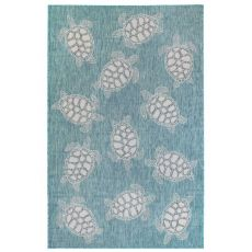 "Liora Manne Carmel Seaturtles Indoor/Outdoor Rug Aqua 7'10""X9'10"""