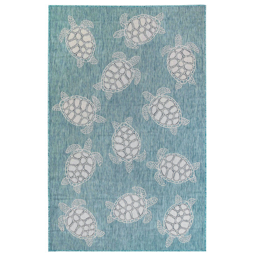 "Liora Manne Carmel Seaturtles Indoor/Outdoor Rug Aqua 7'10"" RD"