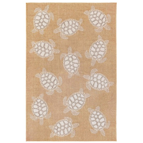"Liora Manne Carmel Seaturtles Indoor/Outdoor Rug Sand 7'10"" RD"