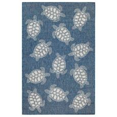 "Liora Manne Carmel Seaturtles Indoor/Outdoor Rug Navy 39""X59"""