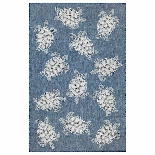 "Liora Manne Carmel Seaturtles Indoor/Outdoor Rug Navy 7'10"" RD"