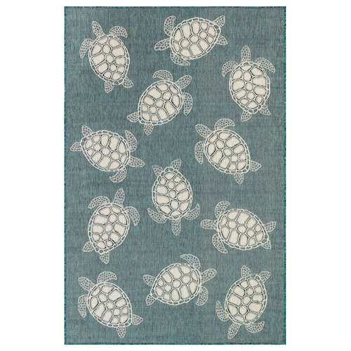 "Liora Manne Carmel Seaturtles Indoor/Outdoor Rug Teal 7'10"" RD"