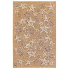 "Liora Manne Carmel Starfish Indoor/Outdoor Rug Sand 7'10"" Sq"
