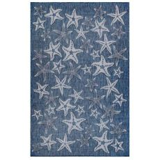 "Liora Manne Carmel Starfish Indoor/Outdoor Rug Navy 7'10"" Sq"