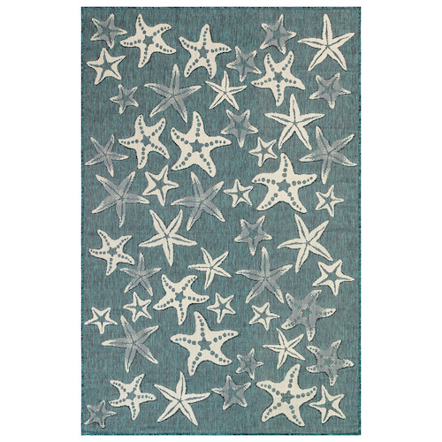 "Liora Manne Carmel Starfish Indoor/Outdoor Rug Teal 7'10""X9'10"""