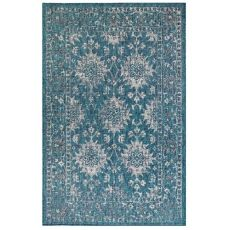"""Liora Manne Carmel Vintage Floral Indoor/Outdoor Rug Teal 7'10"""" Rd"""