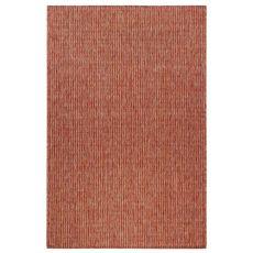 """Liora Manne Carmel Texture Stripe Indoor/Outdoor Rug Red 7'10"""" Sq"""