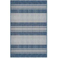 """Liora Manne Carmel Stripe Indoor/Outdoor Rug Navy 7'10"""" Sq"""