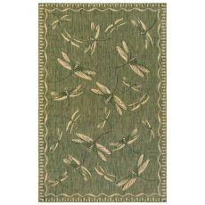 "Liora Manne Carmel Dragonfly Indoor/Outdoor Rug Green 4'10""X7'6"""