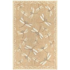"Liora Manne Carmel Dragonfly Indoor/Outdoor Rug Dark Sand 23""X7'6"""