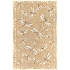 """Liora Manne Carmel Dragonfly Indoor/Outdoor Rug Dark Sand 7'10"""" Rd"""