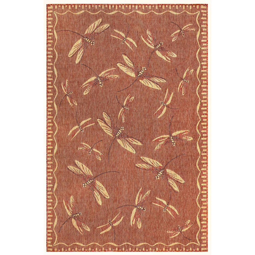 "Liora Manne Carmel Dragonfly Indoor/Outdoor Rug Red 6'6""X9'4"""