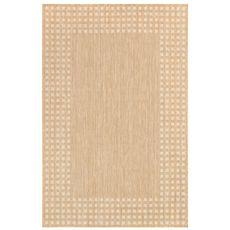 """Liora Manne Carmel Gingham Border Indoor/Outdoor Rug Sand 6'6""""x9'4"""""""