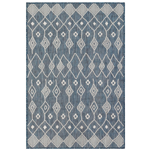 "Liora Manne Carmel Marrakech Indoor/Outdoor Rug Navy 7'10"" SQ"