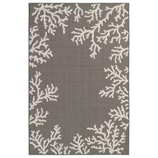 "Liora Manne Carmel Coral Border Indoor/Outdoor Rug Grey 8'10""x11'9"""