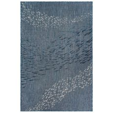 "Liora Manne Carmel School Of Fish Indoor/Outdoor Rug Navy 23""X7'6"""
