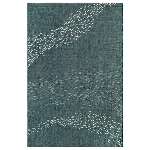 "Liora Manne Carmel School Of Fish Indoor/Outdoor Rug Teal 7'10"" RD"