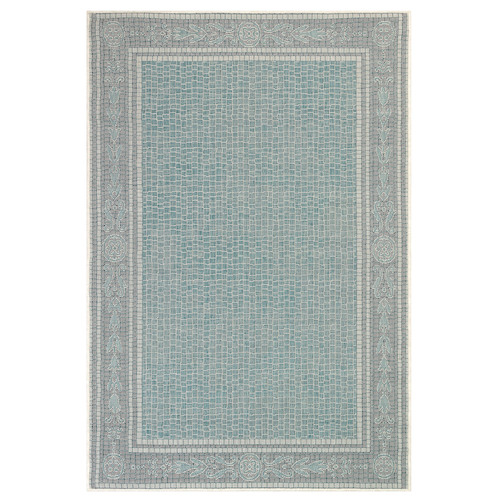 "Liora Manne Carmel Ancient Border Indoor/Outdoor Rug Aqua 23""X7'6"""