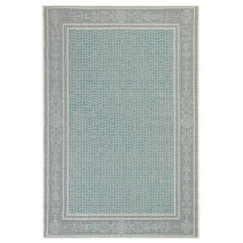 "Liora Manne Carmel Ancient Border Indoor/Outdoor Rug Aqua 4'10""X7'6"""