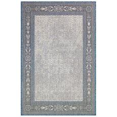 "Liora Manne Carmel Ancient Border Indoor/Outdoor Rug Ivory/navy 6'6""x9'4"""