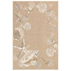 "Liora Manne Carmel Seashell Border Indoor/Outdoor Rug Sand 6'6""x9'4"""