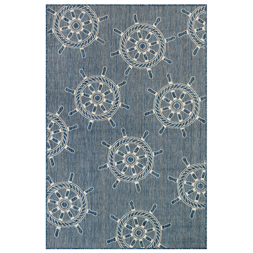 "Liora Manne Carmel Shipwheels Indoor/Outdoor Rug Navy 7'10"" SQ"