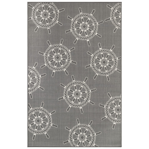 "Liora Manne Carmel Shipwheels Indoor/Outdoor Rug Grey 7'10"" SQ"