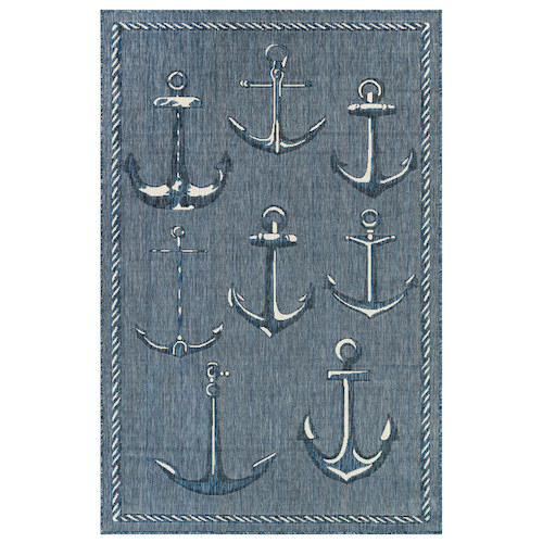 "Liora Manne Carmel Anchors Indoor/Outdoor Rug Navy 7'10"" SQ"