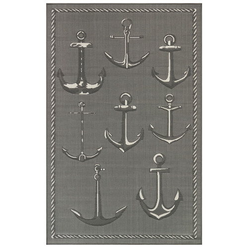"Liora Manne Carmel Anchors Indoor/Outdoor Rug Grey 7'10"" SQ"