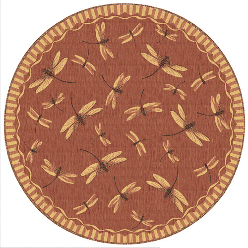 "Liora Manne Carmel Dragonfly Indoor/Outdoor Rug Red 7'10"" RD"
