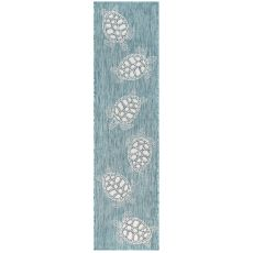 "Liora Manne Carmel Seaturtles Indoor/Outdoor Rug Aqua 23""X7'6"""