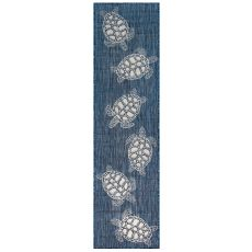 "Liora Manne Carmel Seaturtles Indoor/Outdoor Rug Navy 23""X7'6"""