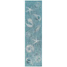 "Liora Manne Carmel Shells Indoor/Outdoor Rug Aqua 23""X7'6"""