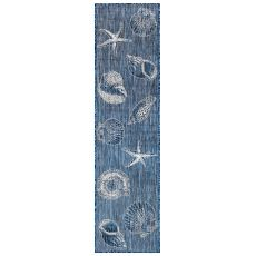 "Liora Manne Carmel Shells Indoor/Outdoor Rug Navy 23""X7'6"""