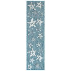 "Liora Manne Carmel Starfish Indoor/Outdoor Rug Aqua 23""X7'6"""