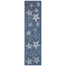 "Liora Manne Carmel Starfish Indoor/Outdoor Rug Navy 23""X7'6"""