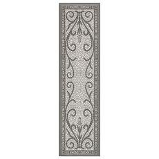 """Liora Manne Carmel Mosaic Indoor/Outdoor Rug Grey 23""""x7'6"""""""