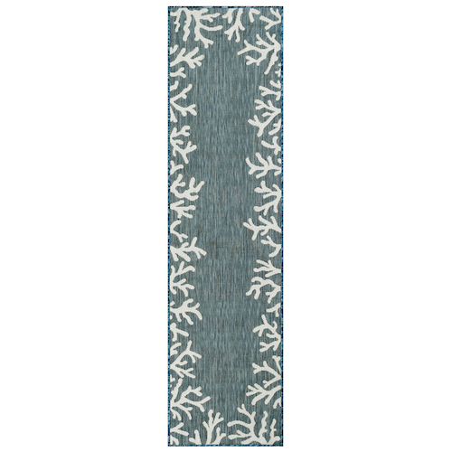 "Liora Manne Carmel Coral Border Indoor/Outdoor Rug Teal 23""X7'6"""