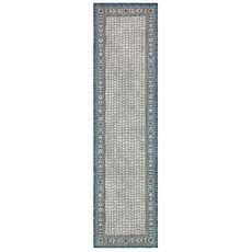 "Liora Manne Carmel Ancient Border Indoor/Outdoor Rug Ivory/navy 23""x7'6"""
