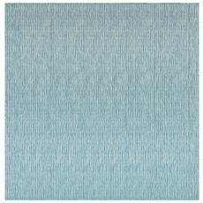 """Liora Manne Carmel Texture Stripe Indoor/Outdoor Rug Aqua 7'10"""" Sq"""