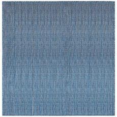 """Liora Manne Carmel Texture Stripe Indoor/Outdoor Rug Navy 7'10"""" Sq"""