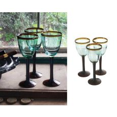 Eight Ounce Wine Glass With Amber Rim Set of 6