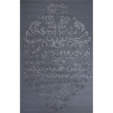 Contemporary Damask Pattern Blue Wool And Art Silk Area Rug (8X11)