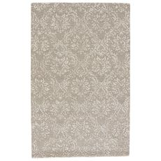 Contemporary Damask Pattern Gray/Neutral Wool And Viscose Area Rug ( 8X11)