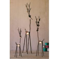 Rustic Iron Reindeer With Tealight Cups Set of 3