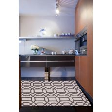 Contemporary Trellis, Chain And Tile Pattern Ivory/Gray Wool And Art Silk Area Rug (9X12)