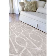 Contemporary Trellis, Chain And Tile Pattern Taupe/Ivory Wool And Art Silk Area Rug (9X12)