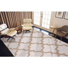 Contemporary Trellis, Chain And Tile Pattern Ivory/Taupe Wool Area Rug (8X11)